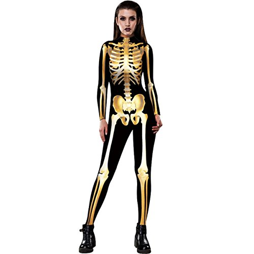 Halloween Human Skull Skeleton Bone Bodysuit 3D Print Funny Skinny Stretch Costume overall Jumpsuit (3d Printer Halloween Costumes)