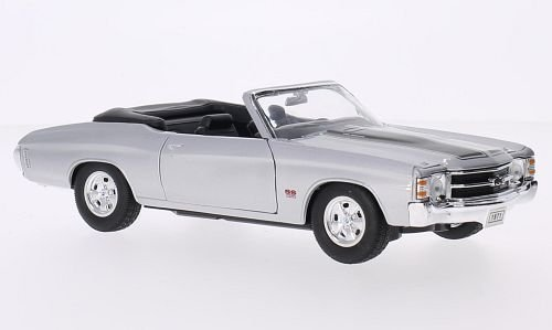 Chevrolet Chevelle SS 454 Convertible, silver/black, 1971, Model Car, Ready-made, Welly 1:24 by Chevrolet (Chevrolet Chevelle Convertible)