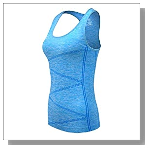 DISBEST Yoga Tank Top, Women's Performance Stretchy Quick Dry Sports Workout Running Top Vest with Removable Pads, Fluorescent Blue, XL/US 10