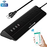 Smart Power Strip, Multiple Outlets WiFi Surge Protector Compatible with Alexa & Google Home, 4 USB Charging Stations and 4 Independent Smart Plugs, 6 Feet Extension Cord -Black