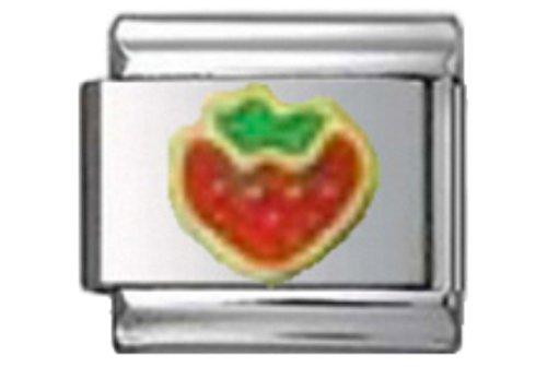 (Stylysh Charms Strawberry RED Food Enamel Italian 9mm Link FO015)