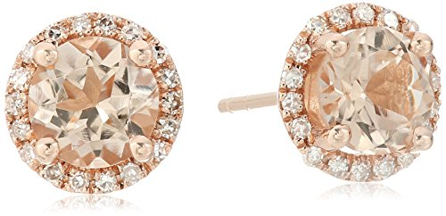 10k Rose Gold Morganite And Diamond Classic Princess Di Halo Stud Earrings (1/10cttw, H-I Color, I1-I2 (10k I1 Earrings)