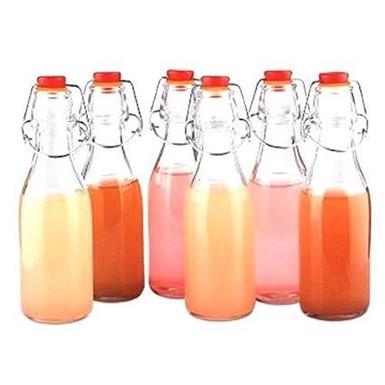Pack 12 Botellas de Vidrio Herméticas Con Tapón Preservar Líquidos por Kurtzy - Botellas 100ml -3,3oz Transparentes para Bebidas Hechas en Casa, ...