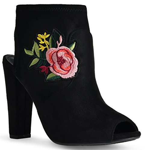 Peep Out Cut Black Heel Open Heel Flower Embroidered Faux High Boots Suede Booties Ankle Toe Chunky FdqAa1n
