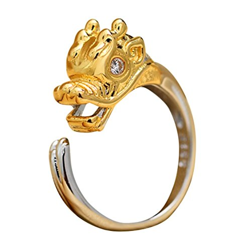 Silver Detailed Sterling Dragon Ring - CinCinChic For Womens Mens 925 Sterling Silver Zodiac Dragon Tiger Rabbit Dog Ox Rat Monkey Pig Rooster Snake Rabbit Horse Sheep Adjustable Size Ring (Dragon)