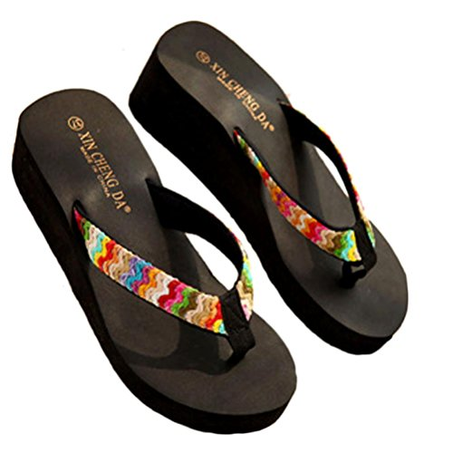 Women's Girls Flip Slippers,Bohemia Sandals [Spring Summer Flat Sandals] Nice Sandals Clip Toe For Beach (Black, 39(US 8))
