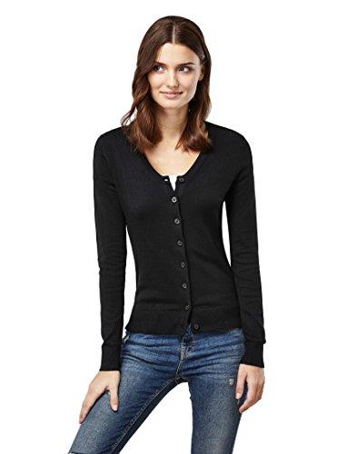 Vincenzo Boretti Woman's sweater - classic cardigan with button pla,black,X-Small