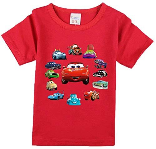 Boys' 95 Cars Lightning McQueen Short Sleeve T-Shirt Toddler Cartoon Characters Tee(Red, 6T)
