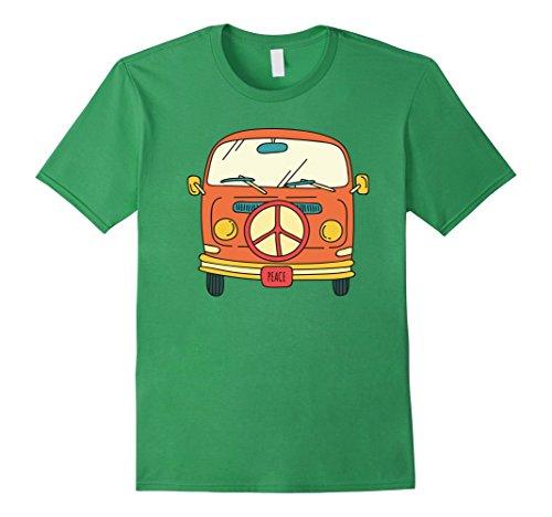 Mens Retro vintage Hippie Bus / Van T-Shirt - Peace 60s & 70s Large Grass