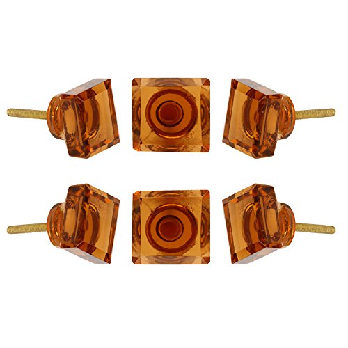 - Perilla Home Set of 6 Crystal Glass Knobs Kitchen Cabinet Cupboard Glass Door Knobs Dresser Wardrobe and Drawer Pull (Amber)