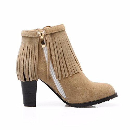 botas borla tacón botas Beige moda femenino tubo grandes de de invierno tallas corto Zapatos de correa alto qwA788z