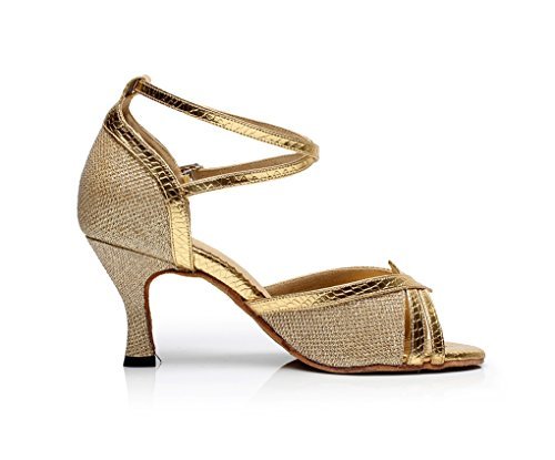 Women's Dance Shoes M Peep UK Toe Gold Glitter MINITOO Latin 5 dqFzYd