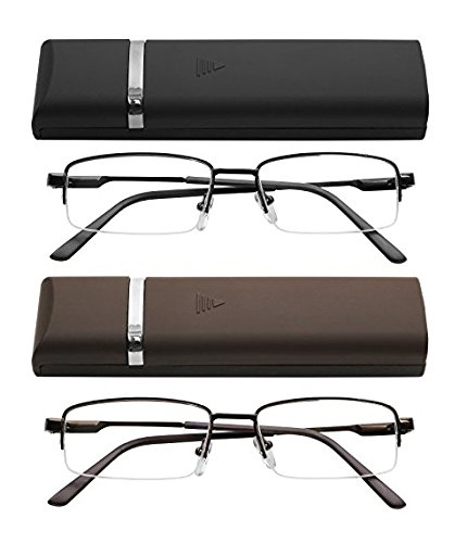 Reading Glasses 2 Pair Ultra Thin Lightweight Spring Hinge Glasses for Reading with Cases for Men and Women +1.5 ()