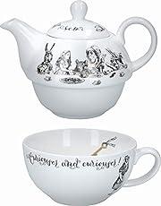 V&A Alicja w krainie czarów herbata na jeden czajniczek i kubek zestaw w pudełku upominkowym, delikatna porcelana, biała, 250 ml