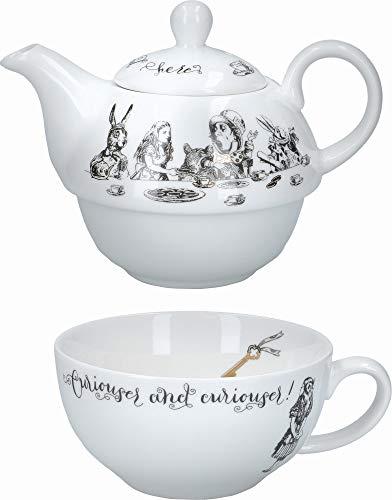 V&A Alice in Wonderland Juego de tetera y taza en caja de regalo, Porcelana