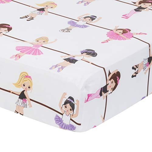 (Baby Girl Fitted Crib Sheet Born to Dance Ballerina, 100% Soft Microfiber, Breathable and Hypoallergenic Baby Sheet, Fits Standard Size Crib Mattress 28in x 52in, Nursery Sheet)