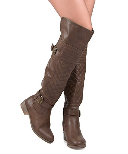 Nature Breeze Ralph-03HI Over The Knee Quilted Leatherette Buckle Round Toe Motorcycle Boots Brown (8)