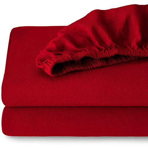 - Bare Home Fitted 100% Cotton Ultra Soft Jersey Bottom Sheet - Breathable - Deep Pocket - Adjustable Bed - 2 Twin XL Sheets (Split King, Red)