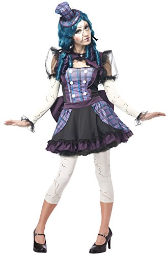 California Costumes Women's Broken Doll Sexy Creepy Steampunk Victorian Costume, Black/Purple, Large -