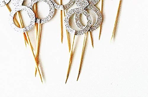 Silver Diamond Ring Cupcake Toppers for Engagements and Weddings - 10 Pieces (Basket Silver Cake)