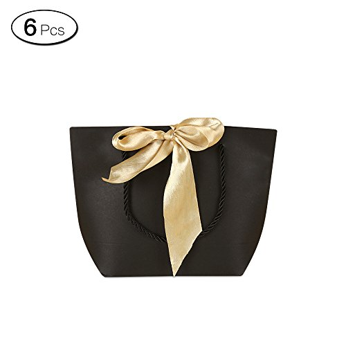 Jia Hu 6Pcs Black Shopping Paper Gift Bags with Ribbon Tote Bag for Shoes Cloth (Black Shoe Tote)