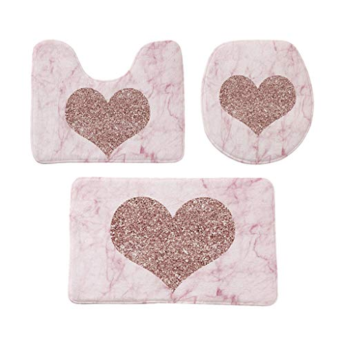 003 Memory - Baulody 3-Pack Bath Mat Set - Large, Small and Contour Bathroom Rug Set, Absorbent Memory Foam Bath Rugs, Non-Slip, Thick, Velvet Microfiber Bathrug, Plush Shower Toilet Bathmats Carpet Royal Pink (C)