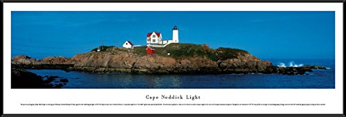 Blakeway Worldwide Panoramas Cape Neddick Light - Blakeway Panoramas Lighthouse Posters with Standard Frame
