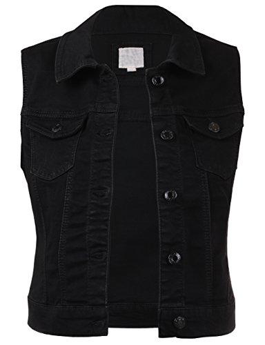 BEKDO Womens Basic Solid Denim Vest-S-BLACK