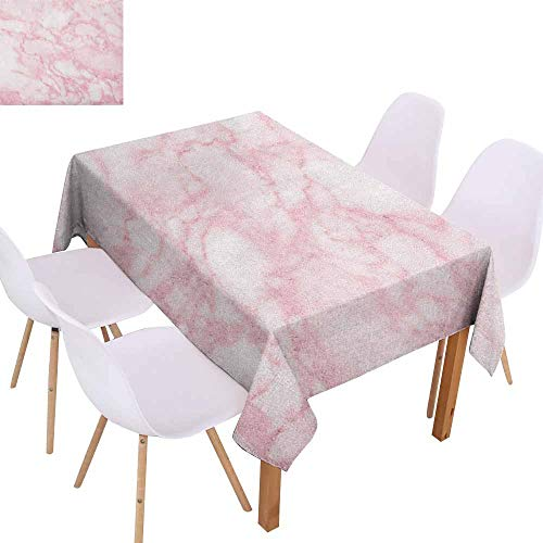 Restaurant Tablecloth Marble Soft Granite Texture Old Fashion Space Stone Abstract Macro Scratches Girls Image and Durable W59 xL71 Pale Pink