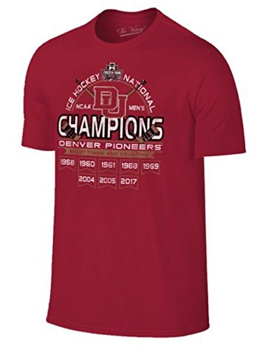 Denver Pioneers 2017 Hockey Frozen Four 8 Time Champions Banner T-Shirt (L) 2005 Ncaa National Champions