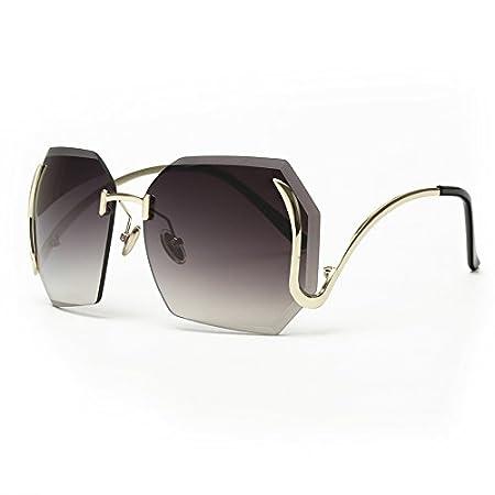 KLXEB Einzigartige Randlose Damen Sonnenbrille Schmetterling Retro Gebogen Tempel Uv 400 Gläser, C4