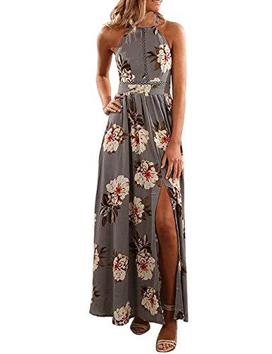 ZESICA Women's Halter Neck Floral Print Backless Split Beach Party Maxi Dress,Grey,X-Large
