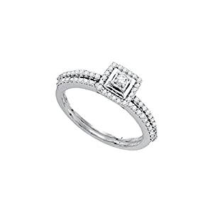 10kt White Gold Womens Round Diamond Slender Bridal Wedding Engagement Ring Band Set 1/3 Cttw