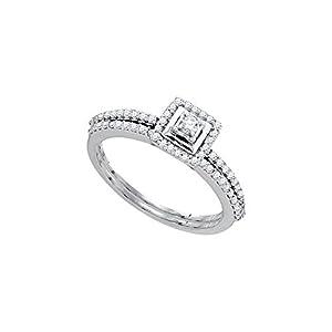 10kt White Gold Womens Round Diamond Slender Bridal Wedding Engagement Ring Band Set 1/3 Cttw