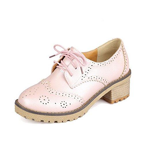 AgooLar Damen Niedriger Absatz Rein Schnüren Weiches Material Rund Zehe Pumps Schuhe Pink