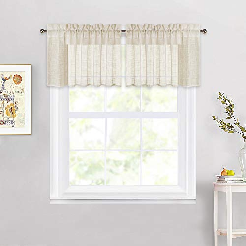 """Linen Textured Sheer Valances - Beige Translucent Sheer Window Valances Semitransparent Voile Panels for Bay Window, 52"""" Wide x 18"""" Long, Sold by 2 Pieces"""