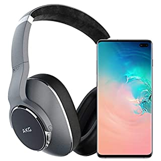 Samsung Galaxy S10+ Plus Factory Unlocked Phone with 512GB (U.S. Warranty), Ceramic White w/AKG N700NC Headphones