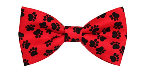 Paw Print Tie - amy2004marie Men's Red with Black Paw Prints Clip On Cotton Bow Tie Bowtie