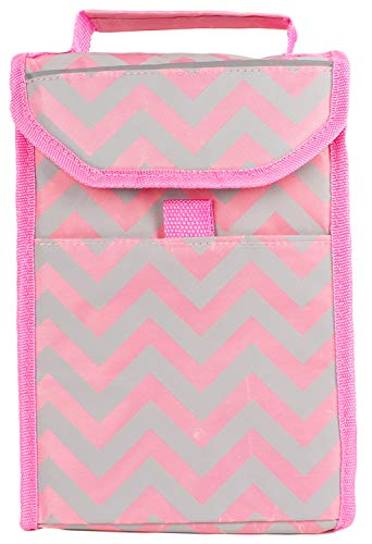 ed Insulated Lunch Kit Cooler Tote Bag Pink Chevron Striped On-The-Go Loncheras Lunchbag by (1 Pack) ()