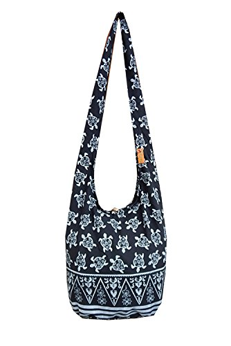 BTP! Turtle Sling Crossbody Shoulder Bag Purse Hippie Hobo Thai Cotton Gypsy Bohemian Large (Black OW1)