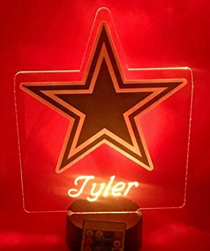 Dallas Cowboys NFL Light Up Lamp LED Personalized Free Football Light Up Light Lamp LED Table Lamp, Our Newest Feature - It's Wow, with Remote, 16 Color Options, Dimmer, Free Engraved, Great Gift (Lamps Plus Dallas)