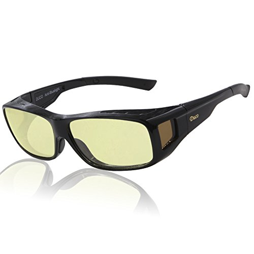 Duco Optiks Ergonomic Advanced Computer Gaming Wear Over Prescription Glasses Anti Blue Light Wraparound Eyewear - Sunglasses Gaming