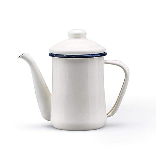Teteras Shuihu Tetera Tetera de esmalte Cafetera blanca cafetera ...
