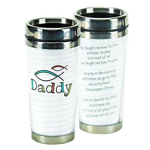 Daddy Christian Fish White 16 Ounce Stainless Steel Travel Coffee Mug With Lid