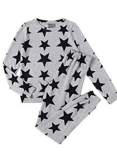 (DIDK Women's Allover Star Print Sweatshirt and Sweatpants Pajama Set Grey XL )