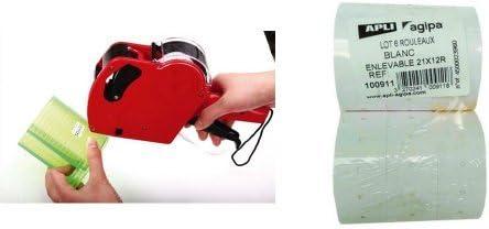 Agipa - Pack máquina etiquetadora + 6 rollos de 1000 etiquetas rectangulares: Amazon.es: Oficina y papelería
