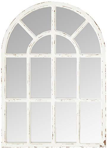 """Amazon Brand – Stone & Beam Vintage Farmhouse Wooden Arched Mantel Mirror, 36.25""""H, Whitewash"""