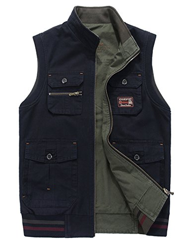 Gihuo Men's Reversible Cotton Leisure Outdoor Pockets Fish Photo Journalist Vest (X-Large, Navy) (Vest Reversible Insulated)