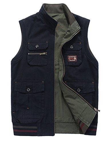 Reversible Two Pocket Vest - Gihuo Men's Reversible Cotton Leisure Outdoor Pockets Fish Photo Journalist Vest (X-Large, Navy)