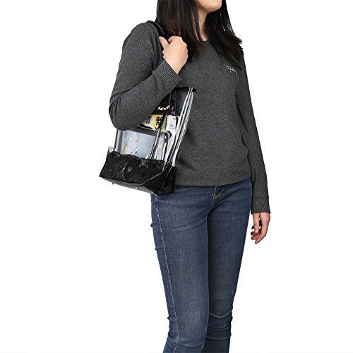 Transparent femme pour Sac noir Zicac baguette noir IgzqH8nCHx